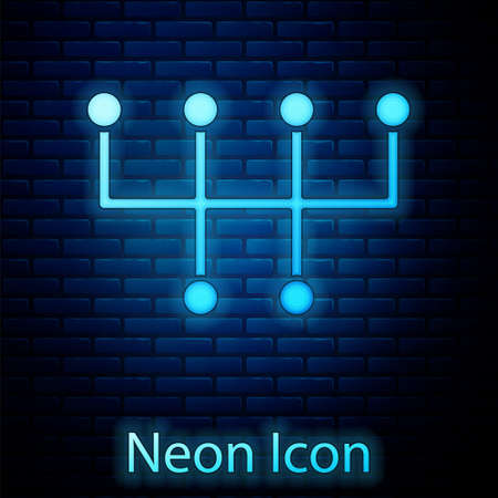 Glowing neon Gear shifter icon isolated on brick wall background. Transmission icon. Vector 일러스트