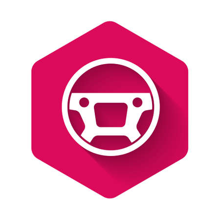 White Steering wheel icon isolated with long shadow background. Car wheel icon. Pink hexagon button. Vector