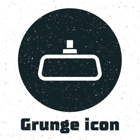 Grunge Car mirror icon isolated on white background. Monochrome vintage drawing. Vector