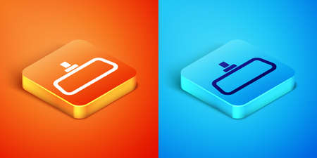 Isometric Car mirror icon isolated on orange and blue background. Vector