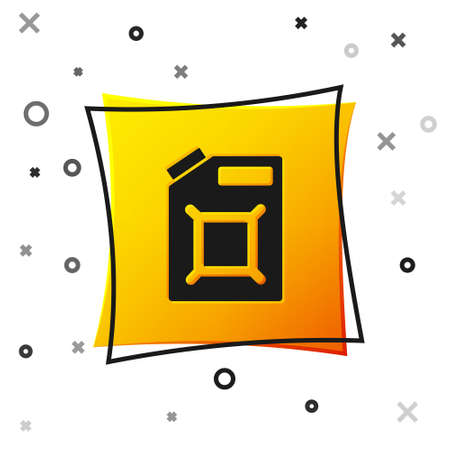 Black Canister for gasoline icon isolated on white background. Diesel gas icon. Yellow square button. Vector 일러스트