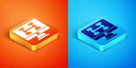 Isometric Hardware diagnostics condition of car icon isolated on orange and blue background. Car service and repair parts. Vector 일러스트