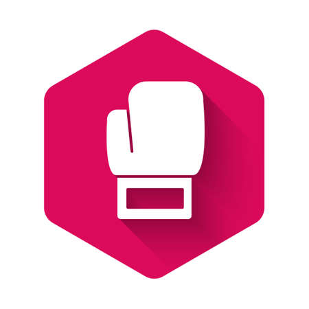 White Boxing glove icon isolated with long shadow background. Pink hexagon button. Vector