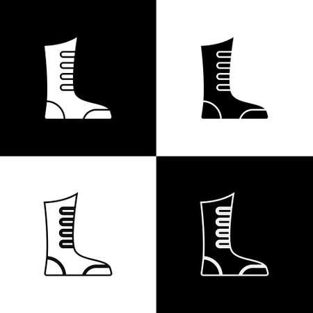 Set Sport boxing shoes icon isolated on black and white background. Wrestling shoes. Vector