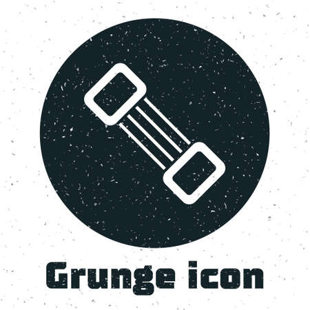 Grunge Chest expander icon isolated on white background. Monochrome vintage drawing. Vector Ilustracja
