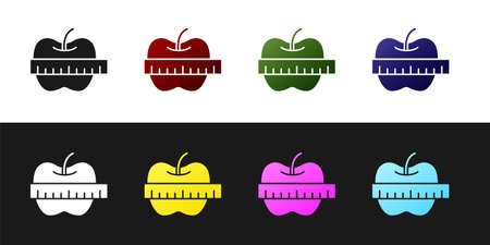 Set Apple and measuring tape icon isolated on black and white background. Excess weight. Healthy diet menu. Fitness diet apple. Vector