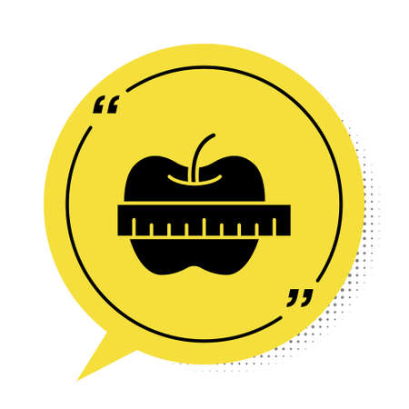 Black Apple and measuring tape icon isolated on white background. Excess weight. Healthy diet menu. Fitness diet apple. Yellow speech bubble symbol. Vector