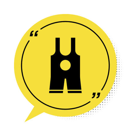 Black Wrestling singlet icon isolated on white background. Wrestling tricot. Yellow speech bubble symbol. Vector Illustration