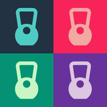 Pop art Kettlebell icon isolated on color background. Sport equipment. Vector