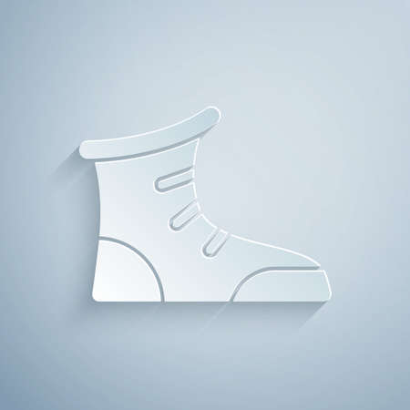 Paper cut Sport boxing shoes icon isolated on grey background. Wrestling shoes. Paper art style. Vector
