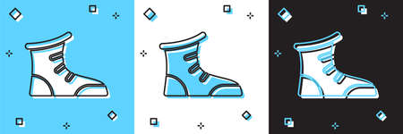 Set Sport boxing shoes icon isolated on blue and white, black background. Wrestling shoes. Vector