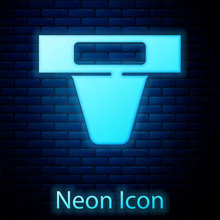 Glowing neon Groin guard for martial arts icon isolated on brick wall background. Vector