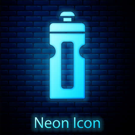 Glowing neon Fitness shaker icon isolated on brick wall background. Sports shaker bottle with lid for water and protein. Vector Illustration