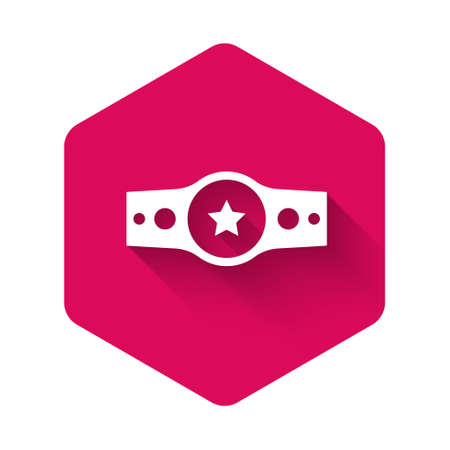 White Boxing belt icon isolated with long shadow background. Belt boxing sport championship winner fight award. Pink hexagon button. Vector