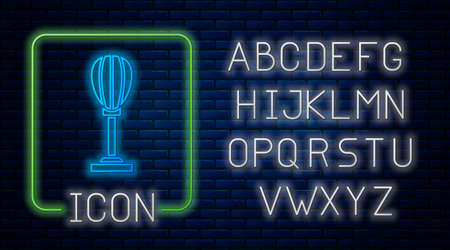 Glowing neon Punching bag icon isolated on brick wall background. Neon light alphabet. Vector