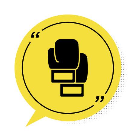 Black Boxing glove icon isolated on white background. Yellow speech bubble symbol. Vector Ilustracja