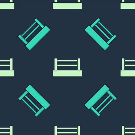 Green and beige Boxing ring icon isolated seamless pattern on blue background. Vector Ilustracja