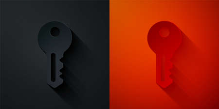 Paper cut House key icon isolated on black and red background. Paper art style. Vector 일러스트