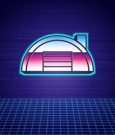 Retro style Warehouse icon isolated futuristic landscape background. 80s fashion party. Vector