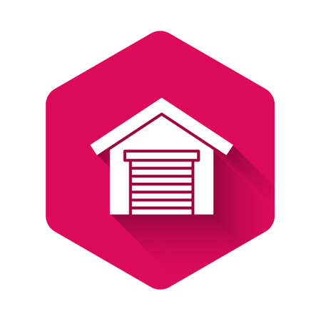 White Garage icon isolated with long shadow background. Pink hexagon button. Vector 일러스트