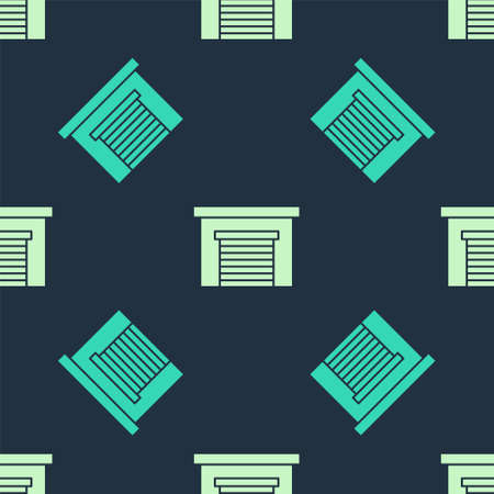 Green and beige Garage icon isolated seamless pattern on blue background. Vector