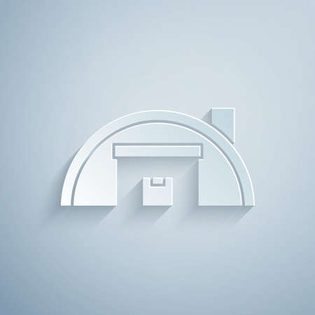 Paper cut Warehouse icon isolated on grey background. Paper art style. Vector