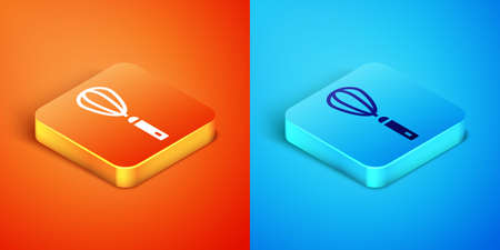 Isometric Kitchen whisk icon isolated on orange and blue background. Cooking utensil, egg beater. Cutlery sign. Food mix symbol. Vector Ilustracja