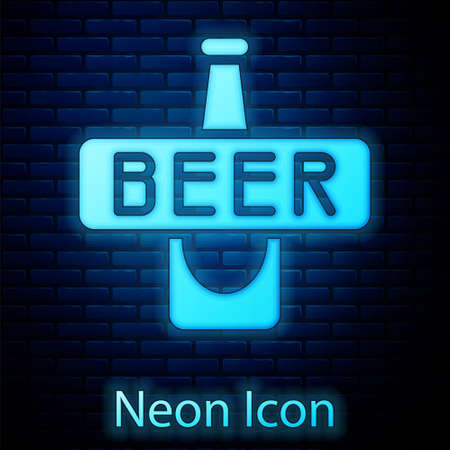 Glowing neon Beer bottle icon isolated on brick wall background. Vector Ilustracja