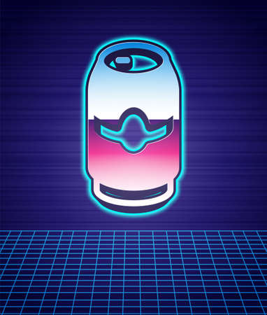 Retro style Beer can icon isolated futuristic landscape background. 80s fashion party. Vector