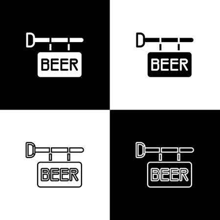 Set Street signboard with inscription Beer icon isolated on black and white background. Suitable for advertisements bar, cafe, pub, restaurant. Vector