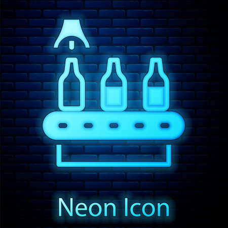 Glowing neon Brewery factory production line pouring alcoholic drink in glass bottles icon isolated on brick wall background. Vector