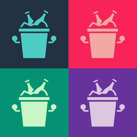 Pop art Beer bottles in ice bucket icon isolated on color background. Vector