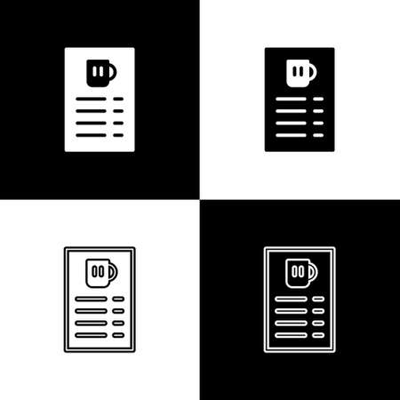 Set Beer menu icon isolated on black and white background. Beer restaurant brochure. Vector