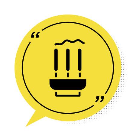 Black Burning aromatic incense sticks icon isolated on white background. Yellow speech bubble symbol. Vector  イラスト・ベクター素材