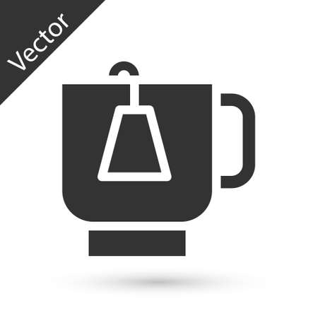 Grey Cup of tea with tea bag icon isolated on white background. Vector