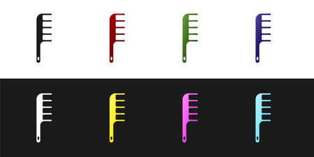 Set Hairbrush icon isolated on black and white background. Comb hair sign. Barber symbol. Vector