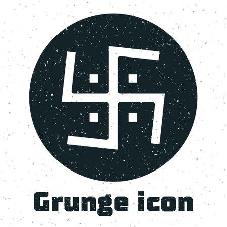 Grunge Hindu swastika religious symbol icon isolated on white background. Monochrome vintage drawing. Vector