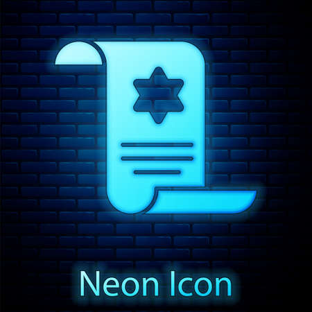 Glowing neon Torah scroll icon isolated on brick wall background. Jewish Torah in expanded form. Star of David symbol. Old parchment scroll. Vector