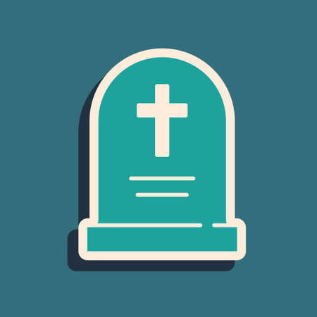 Green Tombstone with cross icon isolated on green background. Grave icon. Happy Halloween party. Long shadow style. Vector  イラスト・ベクター素材