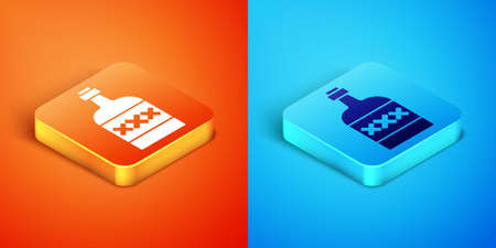 Isometric Tequila bottle icon isolated on orange and blue background. Mexican alcohol drink. Vector Ilustracja