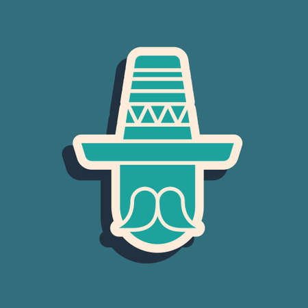 Green Mexican man wearing sombrero icon isolated on green background. Hispanic man with a mustache. Long shadow style. Vector Çizim