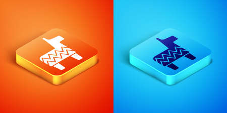 Isometric Pinata icon isolated on orange and blue background. Mexican traditional birthday toy. Vector Çizim