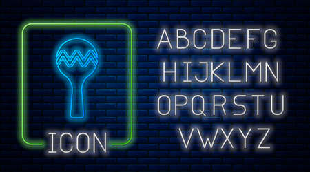 Glowing neon Maracas icon isolated on brick wall background. Music maracas instrument mexico. Neon light alphabet. Vector