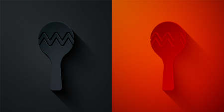 Paper cut Maracas icon isolated on black and red background. Music maracas instrument mexico. Paper art style. Vector Ilustracja