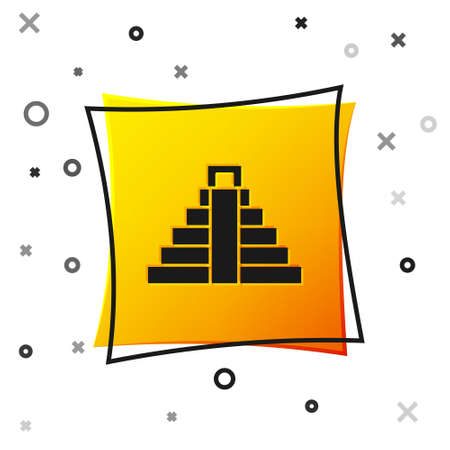 Black Chichen Itza in Mayan icon isolated on white background. Ancient Mayan pyramid. Famous monument of Mexico. Yellow square button. Vector  イラスト・ベクター素材