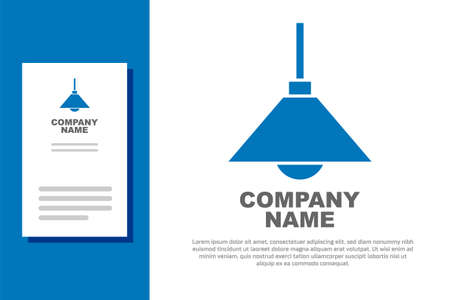 Blue Lamp hanging icon isolated on white background. Ceiling lamp light bulb. Design template element. Vector