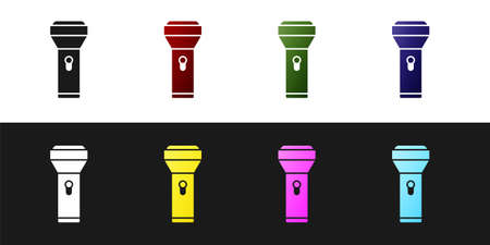 Set Flashlight icon isolated on black and white background. Vector