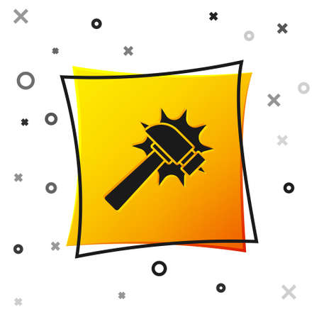 Black Hammer icon isolated on white background. Tool for repair. Yellow square button. Vector