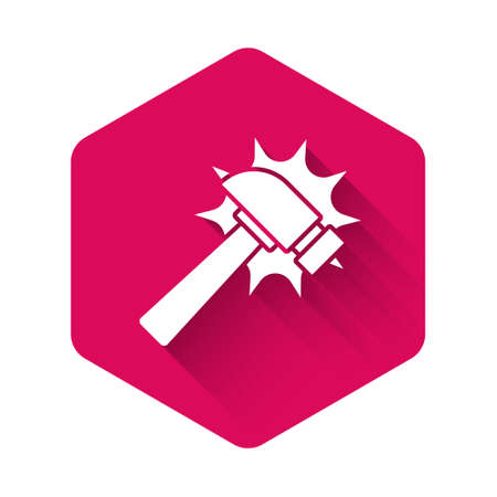 White Hammer icon isolated with long shadow background. Tool for repair. Pink hexagon button. Vector