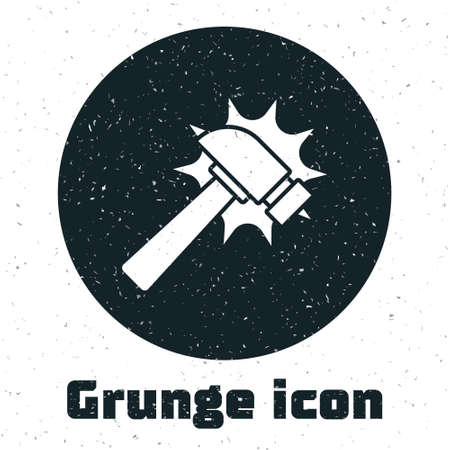 Grunge Hammer icon isolated on white background. Tool for repair. Monochrome vintage drawing. Vector